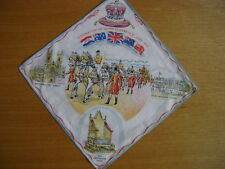 HANDKERCHIEF, HANKIE CORONATION QUEEN ELIZABETH II 1953, FAMOUS SITES IN LONDON