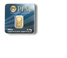 0,1g (Gramm) PIM Feingoldbarren, Bankengold, Investitionsgold, Goldbarren