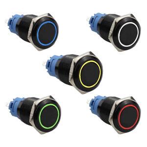 Drucktaster Schalter Schwarz Metall LED 12V / 220V /3A Ø12mm 16mm 19mm 22mm IP65