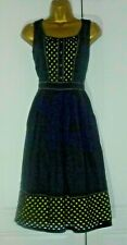 """PER UNA"" SIZE 16 BEAUTIFUL LINED NAVY BLUE & LIME DETAILED COTTON DRESS!!!"