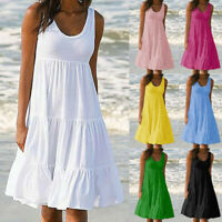 Women Summer Crew Neck Sleeveless A Line Tank Midi Dress Casual Beach Sundress