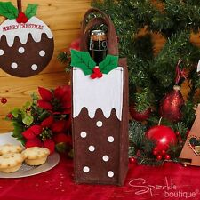 CHRISTMAS PUDDING FELT GIFT / BOTTLE BAG - Perfect for Wine or other Alcohol