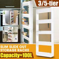 Rolling 3/5 Tiers Kitchen Storage Cabinet Shelf Slim Can Spice Rack Holder Car
