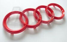 GLOSS RED AUDI BADGE FRONT LOGO FOUR RINGS A3 A4 A6 A8 S3 S4 RS3 RS4 S LINE