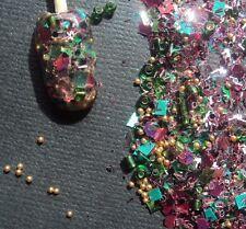glitter mix acrylic gel nail art    EMERALD ROSE