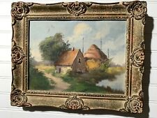 Antique Original Small framed Oil Painting From Holland Landscape house & river
