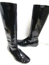 Aquatalia Black Patent Leather Knee High Zip Rain Boots Rainboots Lined 6