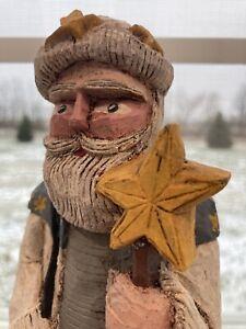 Vintage Painted Old Man Winter Signed Folk Wood Art Sculpture Walking Stick Star
