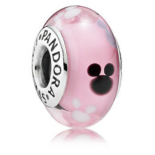 Genuine Pandora Disney Mickey Mouse Silver Murano Glass Charm
