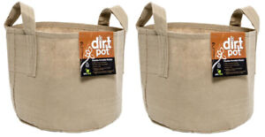Hydrofarm Dirt Pot Reusable Planter, 7-Gallon Tan with Handles, HGDBT7H Two Pack