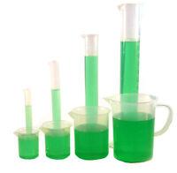 Polypropylene Plastic Measuring Set, 3 Beakers, 4 Graduated Cylinders, 1 Pitcher