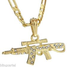 """AK-47 Iced-Out Gun Pendant Rifle Gold Plated Necklace 24"""" Hip Hop Figaro Chain"""