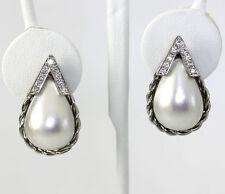Diamante Mobe perla pendientes 14K oro blanco lágrimas 18 redondo brillantes