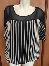 BCX Women Top Shirt Blouse Semi Sheer Lined XL Navy Blue White Striped Cami New