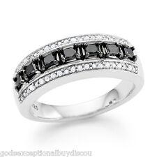 MENS WOMENS PRINCESS  BLACK  & WHITE DIAMOND BAND WEDDING RING SIZEABLE 7