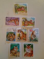 Tigers Stamps From Vietnam, Laos, Congo, Benin, And Sahara MNH 8 Total