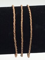 VINTAGE SET OF 3 COPPER TONE TWISTED ROPE CHAIN BRACELETS MARKED 925 MILOR ITALY