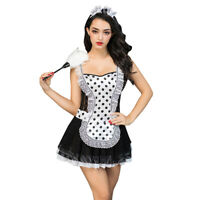 4 Piece Sexy French Maid Costume Outfit Size 10-12 Dress Headband Thong & Duster