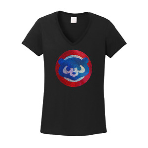 Women's Chicago Cubs  Cubbies spangles  Vneck T-Shirt Bling Lady lots of sparkle