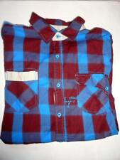 Jeans By Buffalo L Red Blue Tan Mens Collar Button Dress Shirt Plaid Mason Cotto