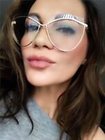 Large Retro Cat Eye Gold Rim Cut Frames Fashion Designer Women Eyeglasses 30387