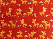 Deer Bambi kawaii fabric 1 yd Japan Cosmo Textiles home dec weight red