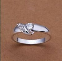 Solitaire Style Ring. Silver Tone & Cubic Zirconia. Size Q