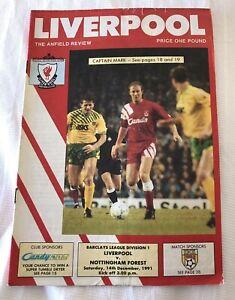 Liverpool v Nottingham Forest Football Match Program 14.12.1991. Anfield Review