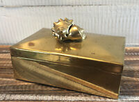 Vintage Brass Lidded Jewelry Trinket Box Seashell Handle Conch