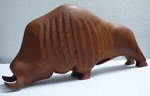 Rare Mid Century Bull Sculpture Denmark Modern Solid Teak wood Hand-Carved 1960s