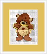 Love me Bear Cross Stitch Kit par Luca s idéal pour débutant 7,5 cm x 10cm