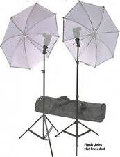 Dual Portable Umbrella and Light Stand Accessory Kit for Speedlites with Case