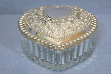 Vintage Beautiful Heart Shaped Trinket Box Glass Intricately Designed Metal Lid