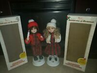Vtg TELCO Motion-ette Animated Christmas Victorian Caroler Boy and Girl with Box