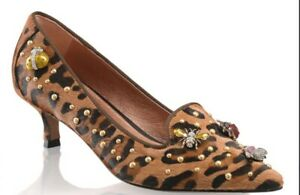 Russell & Bromley Shoes Humbug Bug Court Leopard Hair Calf 4 37 Jewel Studded
