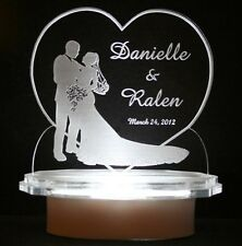 LIGHTED HEART BRIDE & GROOM CAKE TOP