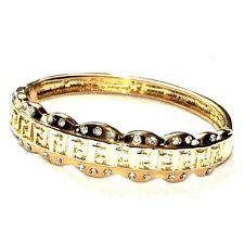 Bracelet jonc couleur or et cristal blanc bijou A2