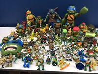 Used Modern LOT 70 TMNT Teenage Mutant Ninja Turtles Action Figures Toys Playmat