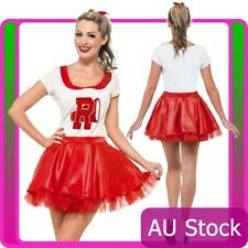 50s Grease Sandy Costume Red Rydell High Licensed Cheerleader 1950s Fancy Dress