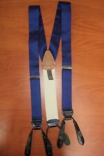 Trafalgar Blue Geometric Pattern Pure Silk Leather Brace Suspenders ~NEW~