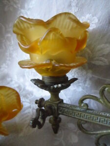 Pair Unique Antique FRENCH Bronze SCONCES AMBER ROSE Frosted SHADE Home Decor