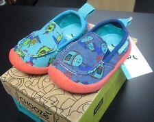 "NEW CHOOZE SHOES BOYS SCOUT SLIP ON SHOES IN ""ROBOT"" PATTERN SZ 4"