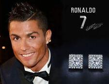 Men's Ronaldo 18K Genuine Platinum Plated AAA Swiss Cubic Zirconia Gem Earrings