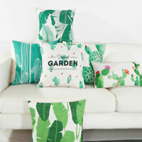 "18"" Cactus Print Cotton Linen Sofa Office Cushion Cover Pillow Cases Home Decor"