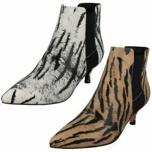 Ladies Spot On Animal Print Ankle Boots