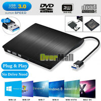 External USB 3.0 CD/DVD-RW Writer Drive Burner Reader Player For Mac PC Laptop