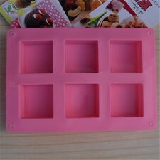 6 Holes Pink Square Shaped Silicone Cake Chocolate DIY Soap Homemade Craft Mold