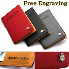 Free Engraving Genuine Leather 3 Colors US PASSPORT Holder ID Case Cover Wallet