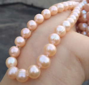 """20"""" Handmade 9-10mm Natural South Sea Gold Pink Pearl Necklace 14k Yellow Gold"""