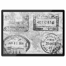 Plastic Placemat A3 BW - World Map with Travel Stamps  #39450